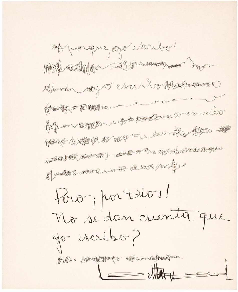 Mirtha Dermisache. Sin título (Texto) o No ven que yo escribo!?, ca. 1970-1971. Tinta sobre papel; 28 x 23 cm. Imagen: Cortesía © Legado Mirtha Dermisache, BuenosAires, 2021. ****